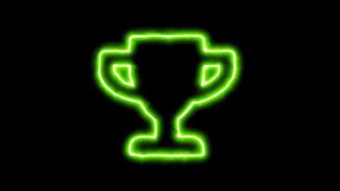The appearance of the green neon symbol trophy. Flicker, In - Out. Alpha channel Animation