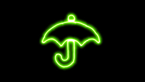 The appearance of the green neon symbol umbrella. Flicker, In - Out. Alpha Animation