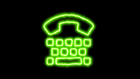 The appearance of the green neon symbol tty. Flicker, In - Out. Alpha channel Animation