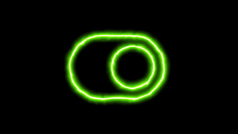 The appearance of the green neon symbol toggle on. Flicker, In - Out. Alpha Animation