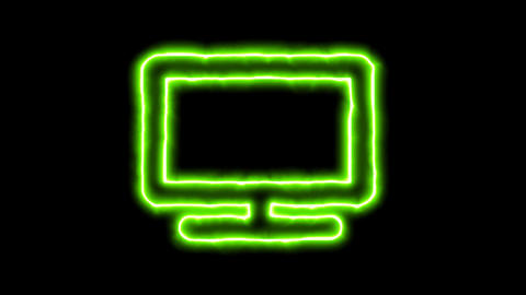 The appearance of the green neon symbol tv. Flicker, In - Out. Alpha channel Animation