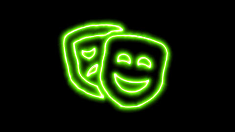 The appearance of the green neon symbol theater masks. Flicker, In - Out. Alpha Animation