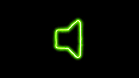 The appearance of the green neon symbol volume off. Flicker, In - Out. Alpha Animation