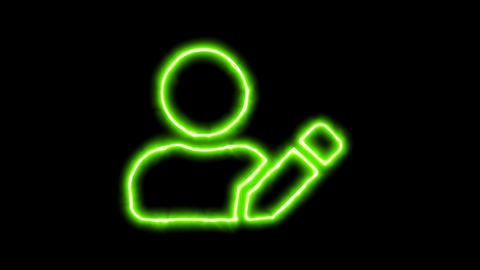 The appearance of the green neon symbol user edit. Flicker, In - Out. Alpha Animation