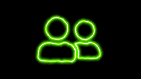 The appearance of the green neon symbol user friends. Flicker, In - Out. Alpha Animation