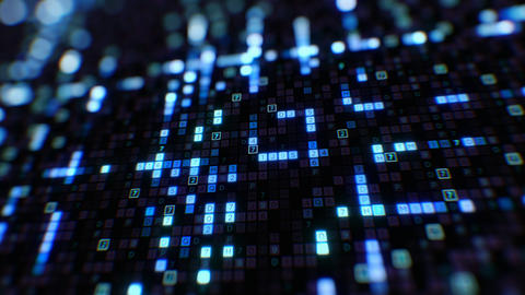 Blue Symbols of Digital Code Abstract Input Process Close-up with DOF Blur Bokeh Animation