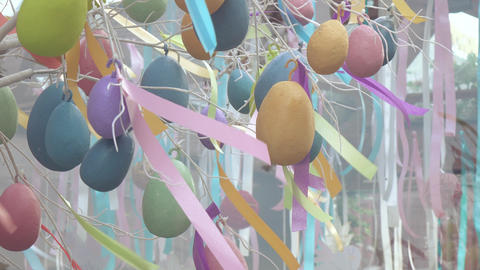 Decorative eggs for festive decoration Footage