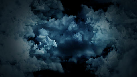 Fantasy landscape on cloudy sky, White smoke animation, Loop background CG動画