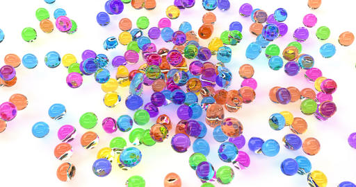 Falling colorful balls, kids toys, plastic balls, playground, abstract Footage
