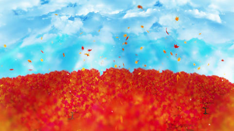 Autumn forest landscape illustration, Abstract nature background, Maple Leaf Animation