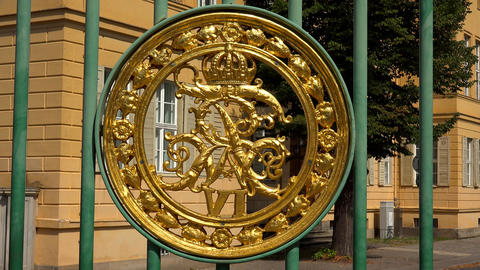 Magnificent emblem on the ancient gate in Potsdam. 4K Live Action