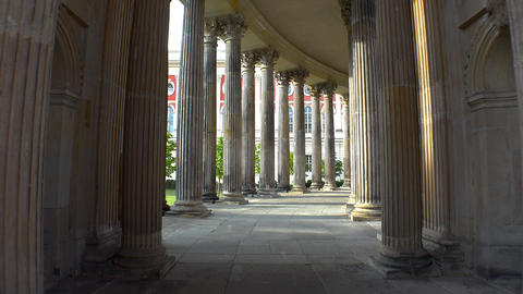 Luxurious colonnade of the New Palace in Potsdam. 4K Live Action