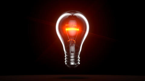 Light bulb on black background Animation