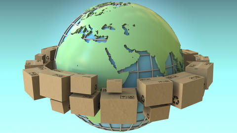 Many boxes rotate around the world, Europe and Africa emphasized. Conceptual Footage