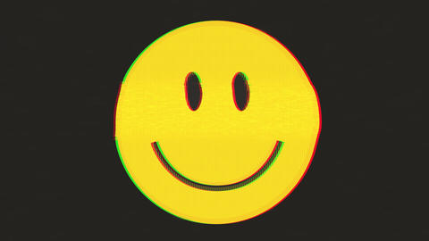 Smiley Icon Switching From Happy To Sad With Glitch Effect Animation