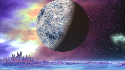 Big Moon over Alien Planet Animation