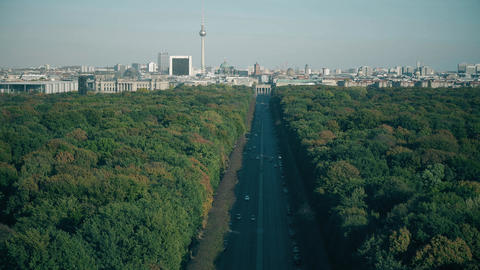 View to the most visited Berlin landmarks: Brandenburg Gate, Berliner dom and Footage
