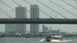 Passenger ferry under Rama VIII bridge,Bangkok,Thailand Footage