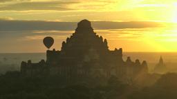 Balloon floating over Temple,Bagan,Burma Footage