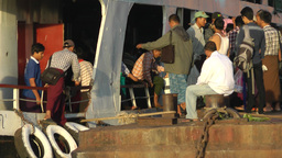 Passengers leaving Ferry on the Irrawaddy river,Yangon,Burma Footage