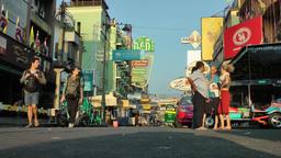 Early morning light in Khoa San road,Bangkok,Thailand Footage