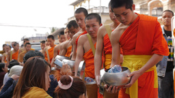 Monks collecting alms,Savannakhet,Laos Footage