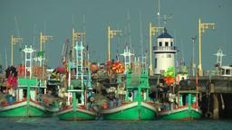 Multi-colored fisherman boats,Prachuap khiri khan,Thailand Footage