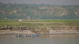 Boat on Irrawaddy ferry to Bhamo,Irrawaddy,Burma Footage