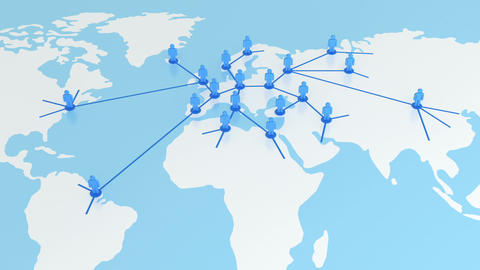 Zooming out from the Global Network Growing on the Earth Map. Business Concept 3 Animation
