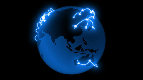 Global Network Blue Color Growing across the Earth. Technology concept 3d animat Animation