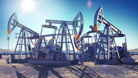 Oil Pumps Working in the Desert. Bright Sun Shining on Blue Sky. Looped 3d anima Animation