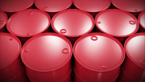 Oil Barrels Moving on the Screen. Looped Business Concept 3d animation. HD 1080 Animation