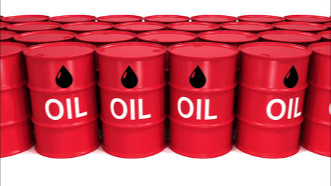 Moving at Rows of Oil Barrels with Signs. Looped Business and Technology Concept Animation