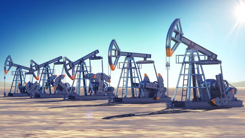 Oil Pumps at work in the desert. Sun Shining. Looped 3d animation. Business and  Animation