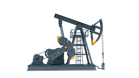 Oil Industry Pump Jack. Working Isolated on White Background. Business Concept r Animation