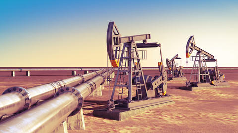 Oil Pumps working at the Pipeline in the desert. Looped 3d animation. Technology Animation
