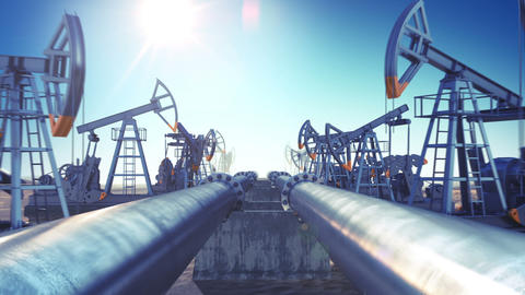 Oil Pumps and Oil Pipeline in endless motion. Looped 3d animation. Blue Sky and  Animation