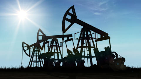 Oil Pump Jacks Working at the Shining Sun. Looped 3d animation. Business and Tec Animation