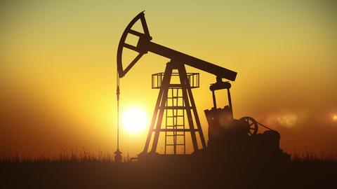 Looped animation of Oil Pump working at Sunset. Bright Sun. Business and technol Animation