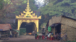 A small restaurant scene in front of a Temple entrance,Bago,Burma Footage