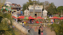 Chinese Temple and playground at Mekong river,Vientiane,Laos Footage