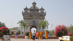 Monks making a photograph in front of Patuxai,Vientiane,Laos Footage