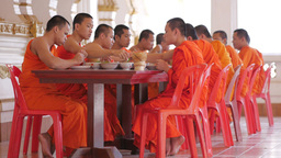 Monks eating lunch,Vientiane,Laos Footage