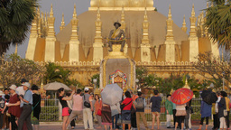 Tourists at That Luang Temple,Vientiane,Laos Footage
