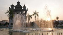 Patuxai with fountain,Vientiane,Laos Footage