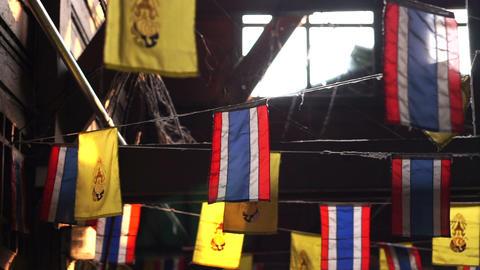 Thai national flags and Thai's King flag Footage