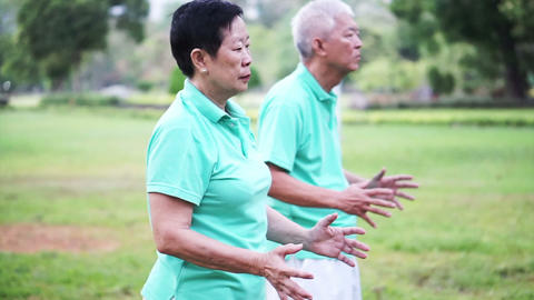 Video of Asian Senior Elderly couple Practice Taichi, Qi Gong exercise outdoor Footage