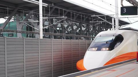 Yaulin, , Taiwan, ROC - February 2016: Taiwan High Speed Rail HSR train arriving Footage