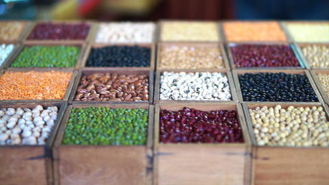 Variety of grains, different type of beans protein source Archivo