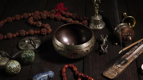 singing bowl, prayer beads, prayer drum, stone balls and other Tibetan religious Live Action